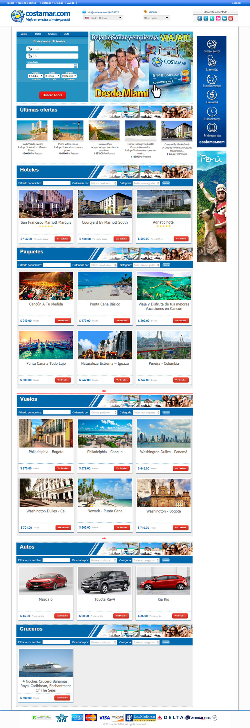 Costamar Travel Homepage Design