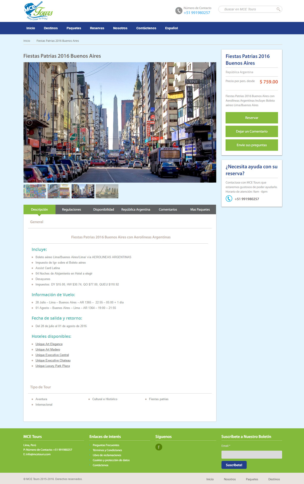 MCE Tours Website Design Tours