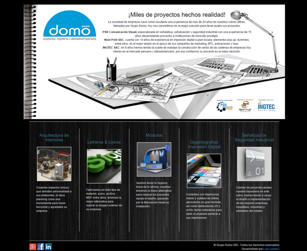Grupo Domo Peru Homepage Design