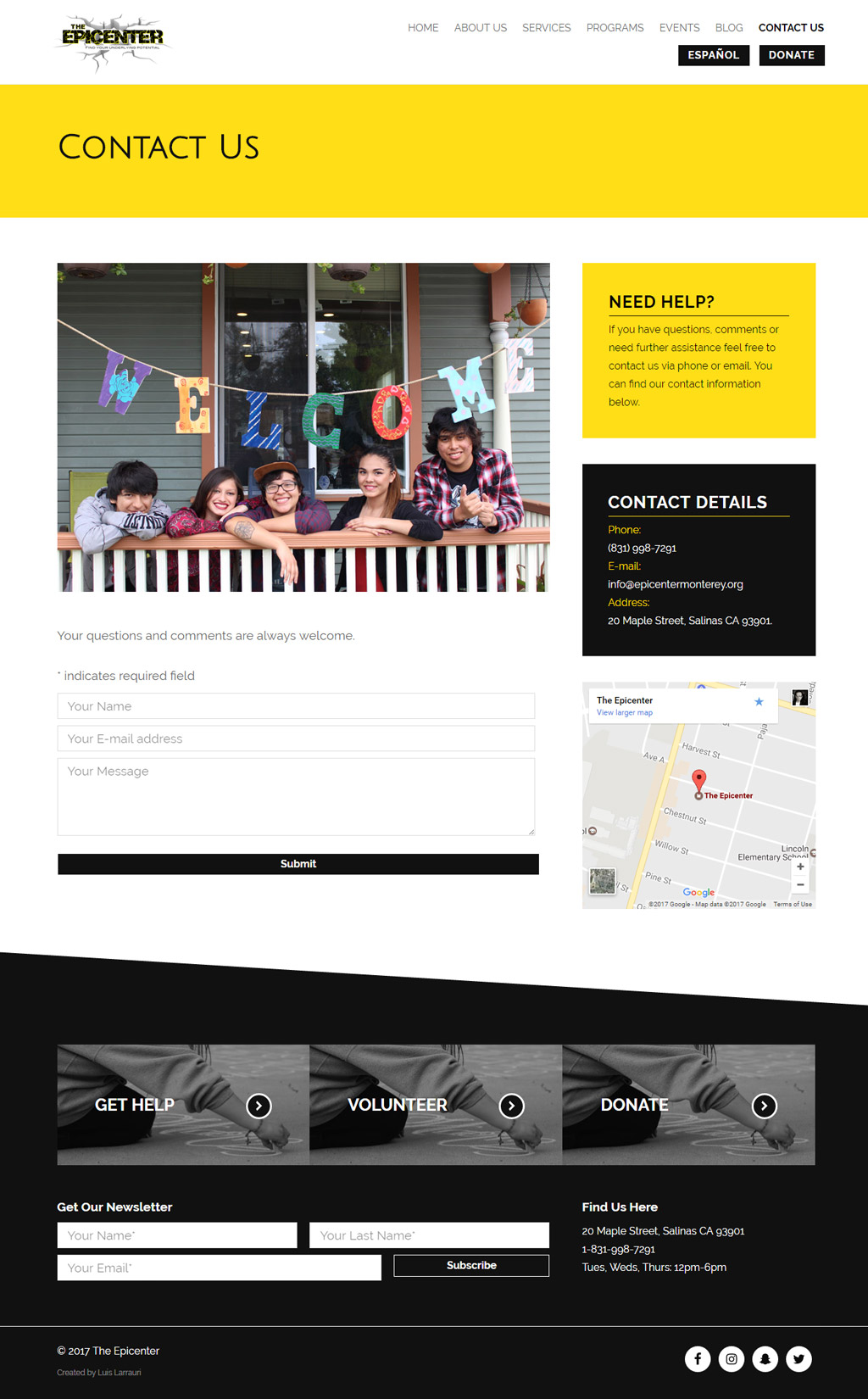 The Epicenter Monterey Contact Page Design