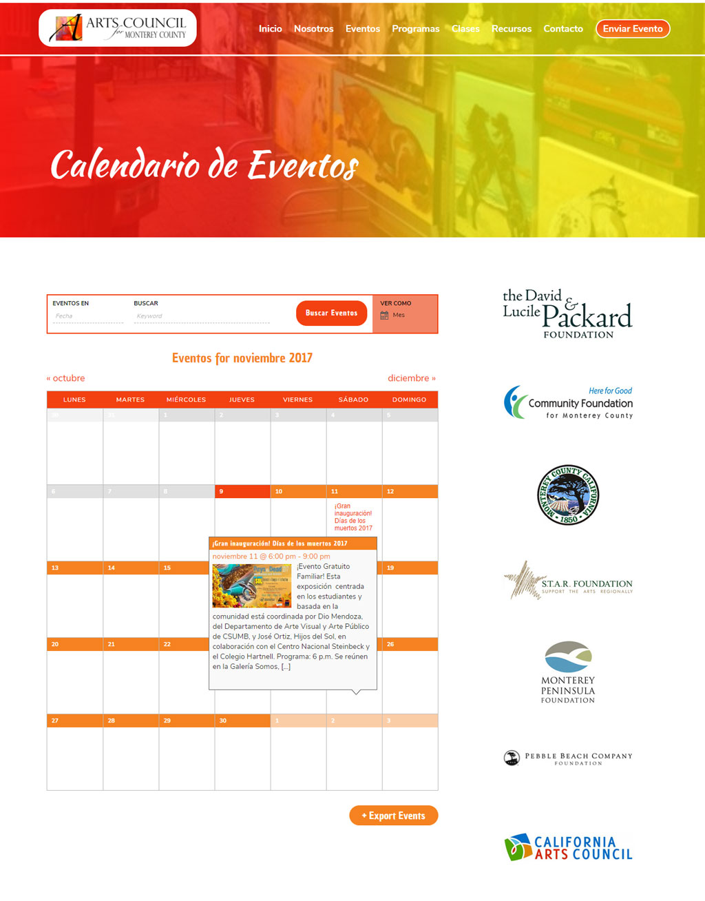 Monterey Cultural Calendar Page
